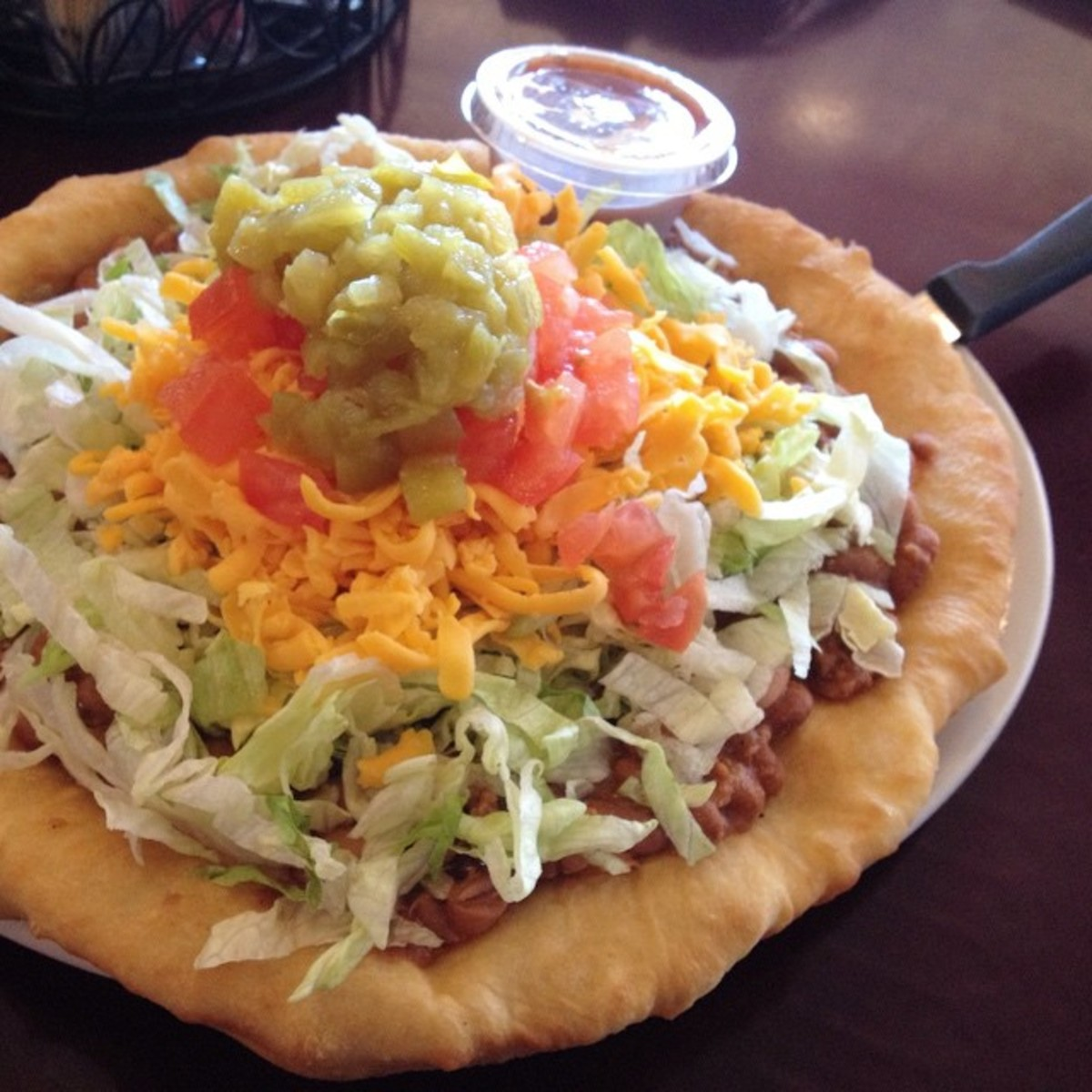 'I ordered this Navajo style taco, which is fry bread topped with a mountain of taco fillings'