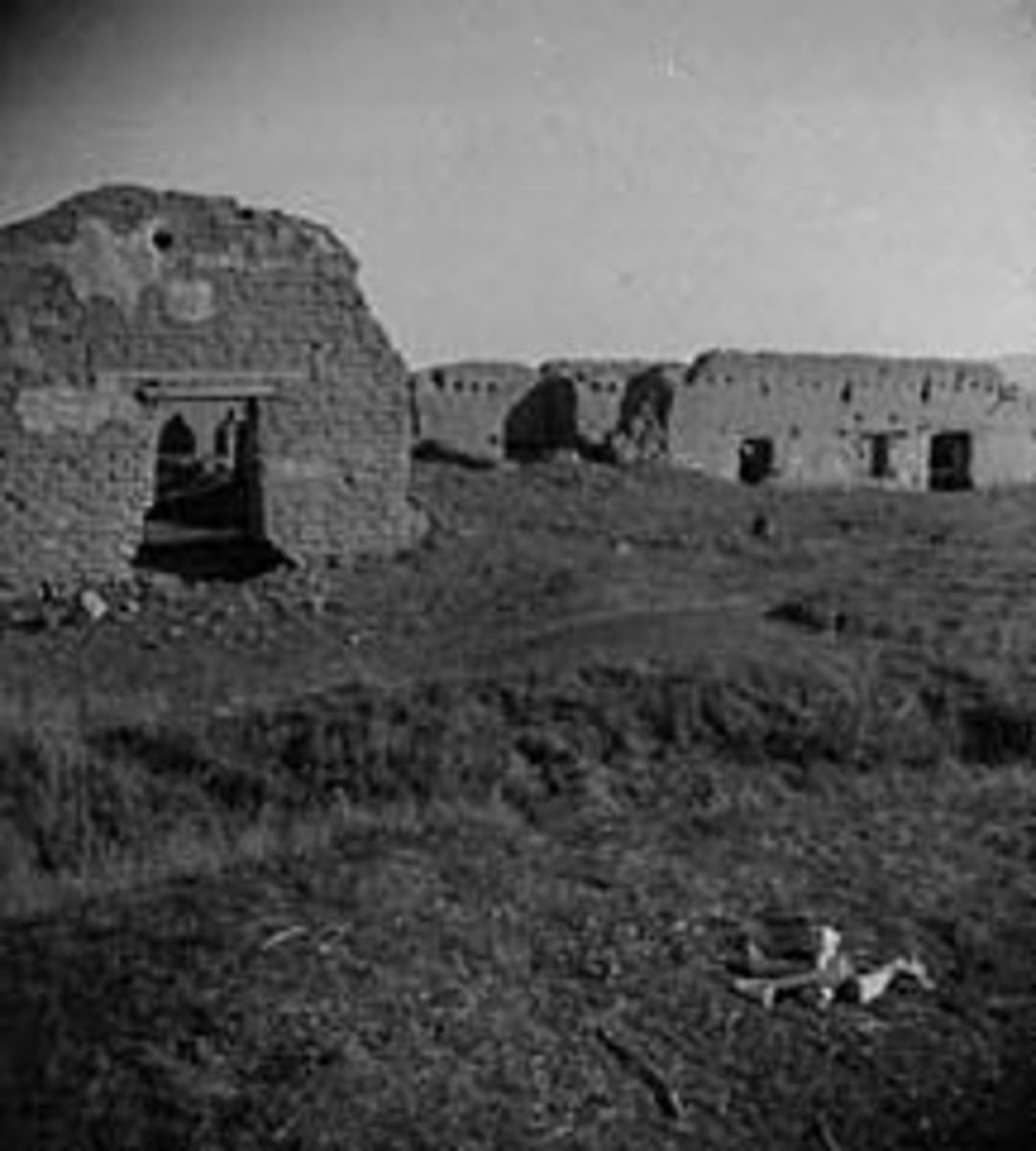 Ruins of Mission Soledad, near Salinas California (c. 1900). The mission was rebuilt in 1954 with funds provided by the Native Daughters of the Golden West.