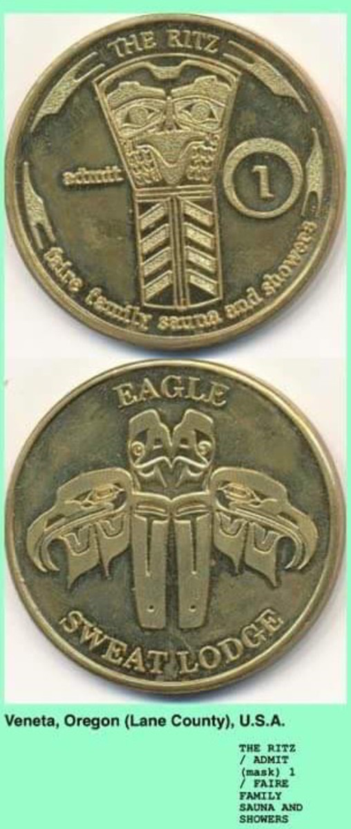 """Detail of a token minted by Ritz Sauna & Showers showing an appropriated Native copper shield on one side and the words """"eagle sweat lodge"""" on the other. The tokens were given to customers of Ritz Sauna & Showers to use as payment for services."""