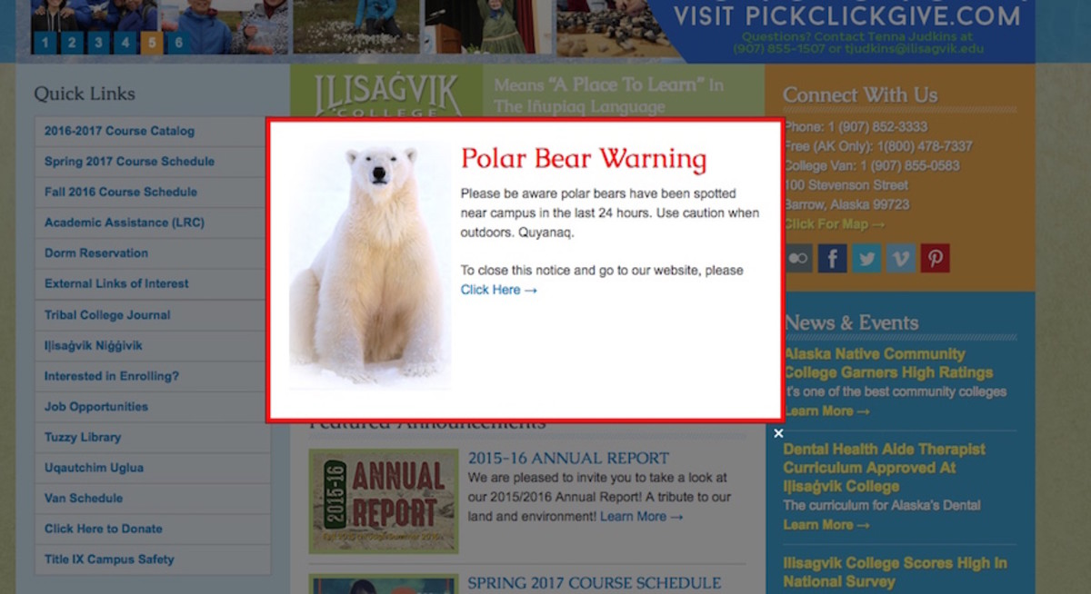 This warning appears on the homepage of the Iḷisaġvik College website.