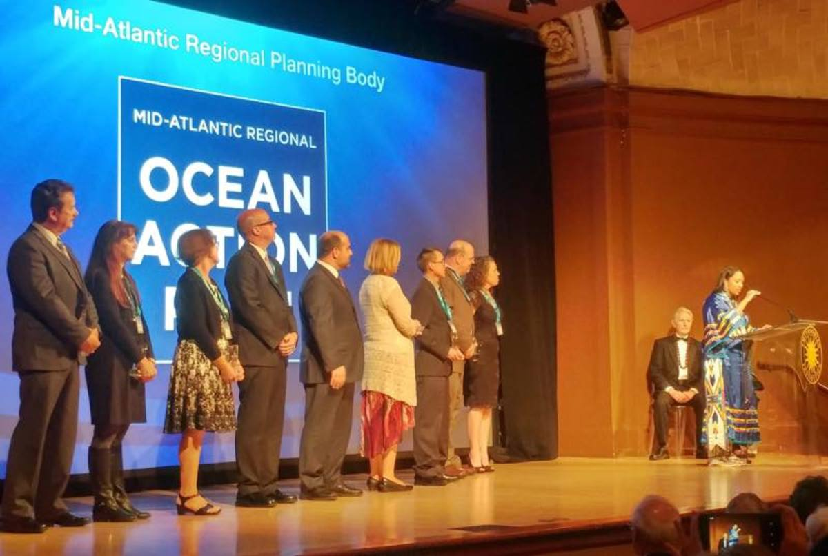 Kelsey Leonard, Shinnecock, speaks as part of a team winning the 2017 Peter Benchley Ocean Awards for Excellence in Solutions.