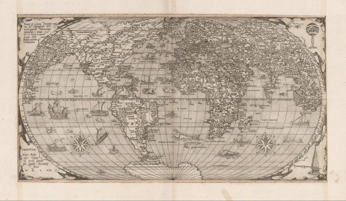 1562 map of the world by Venetian cartographer and engraver Paulus de Furlanis Veronensis (Paulo Forlani). The map shows Asia and the Americas being joined by a land bridge, named Arsarot (Arsareth), after the mythical homeland of the Lost Tribes of Israel.