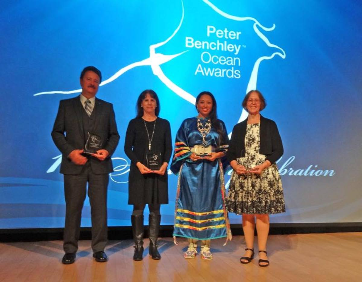 Left to right: Bob Labelle, Federal Co-Lead; Laura McKay, State Co-Lead; Kelsey Leonard, Shinnecock, Tribal Co-Lead; Gwynne Schultz, State Co-Lead, winners of the 2017 Peter Benchley Ocean Award for Excellence in Solutions.