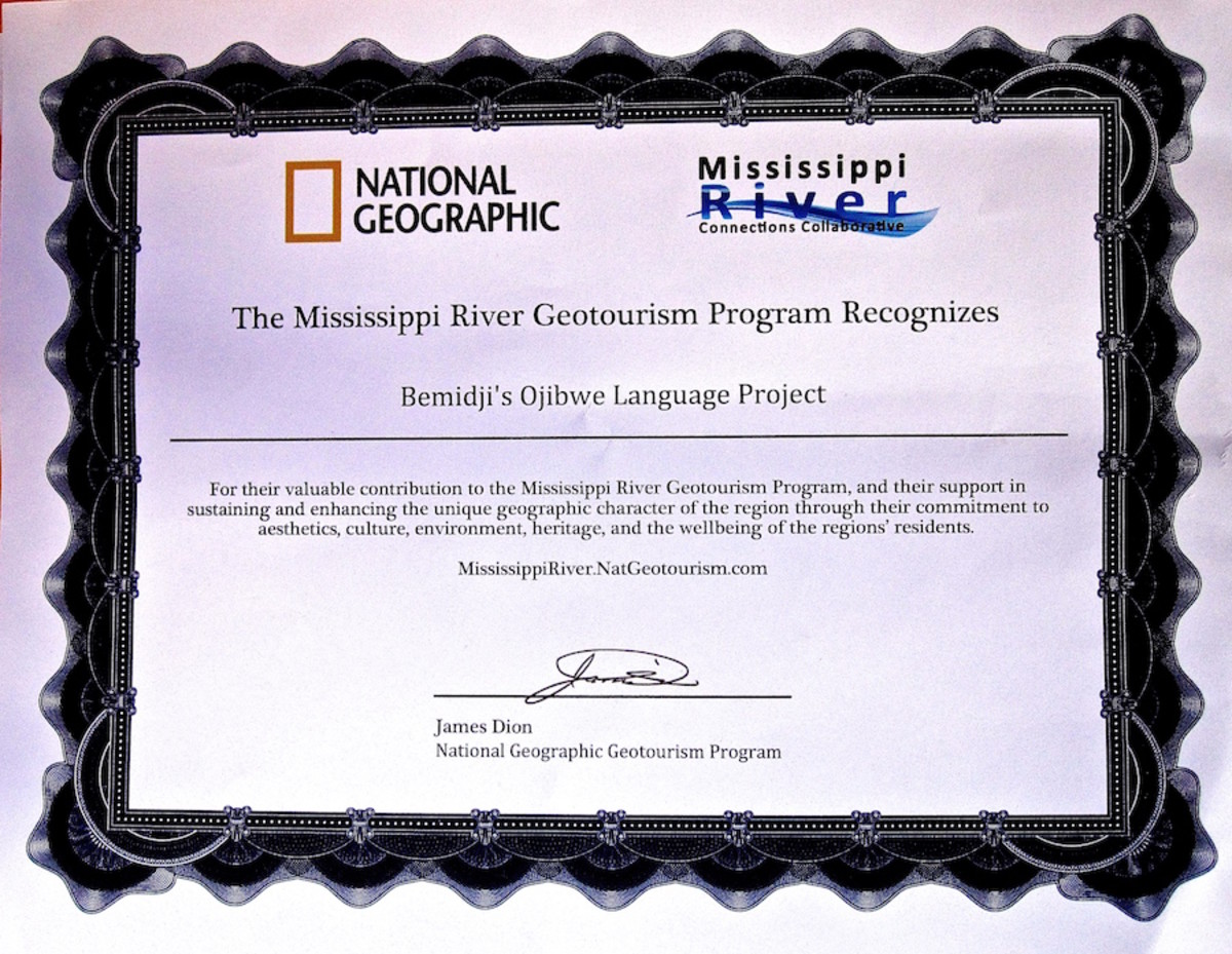 Native American language program certificate