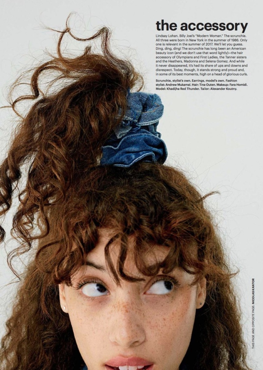 Khadijha Red Thunder appears in a fun photo highlighting a jean scrunchie in this month's issue of Allure.