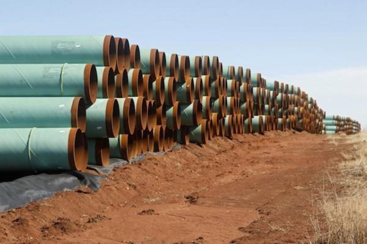 Pieces of the Keystone XL pipeline in Oklahoma, where part of the project is being built.