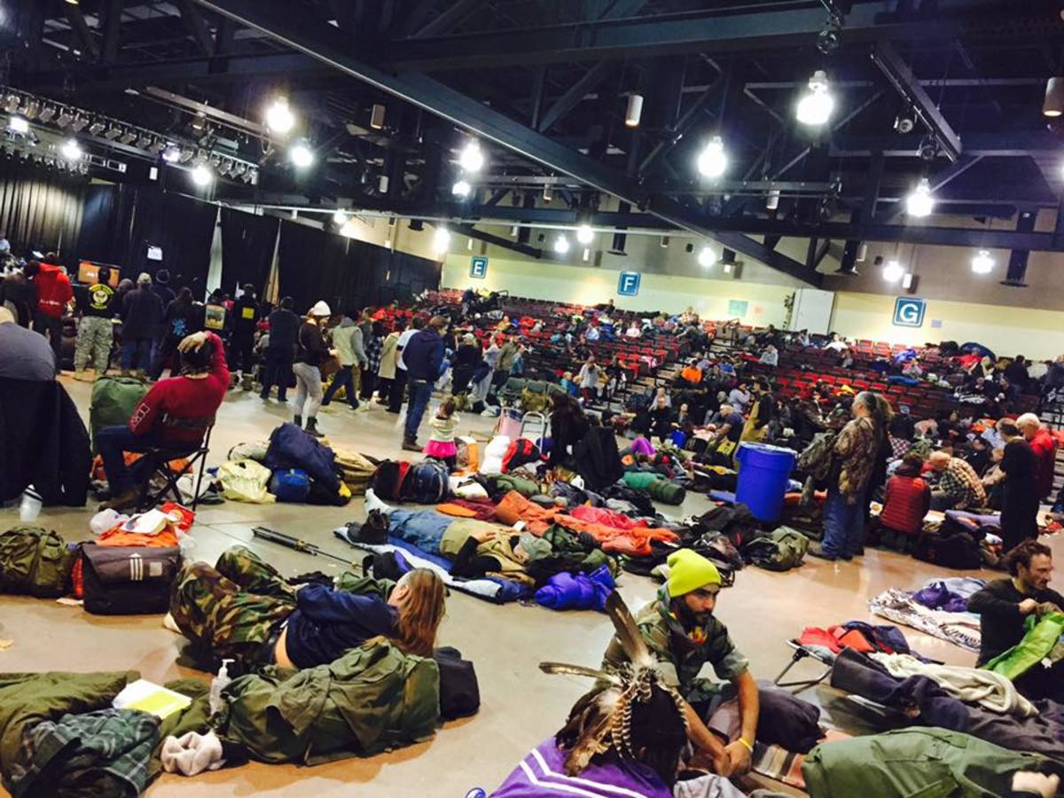 Veterans rest on the floor of the pavilion at the Prairie Knights Casino on the Standing Rock reservation in North Dakota in December 2016.