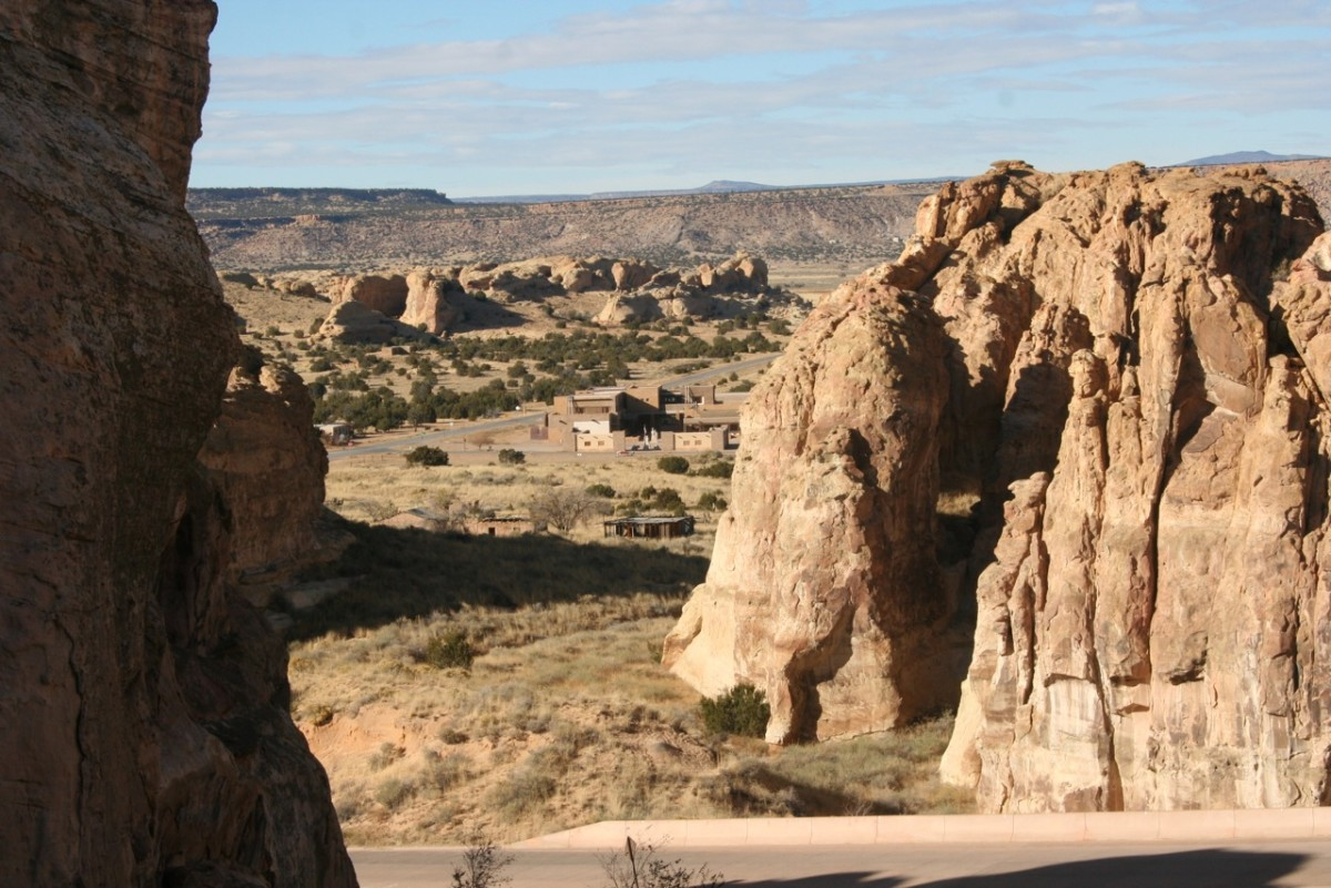 """The Acoma Cultural Center is seen from the top of """"Sky City,"""" a tribal tourism destination along Route 66. (Courtesy AIANTA)"""