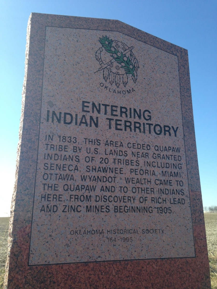 An Indian Territory marker is seen just south of the Kansas border, off Route 66 north of Quapaw, Oklahoma. (Courtesy AIANTA)