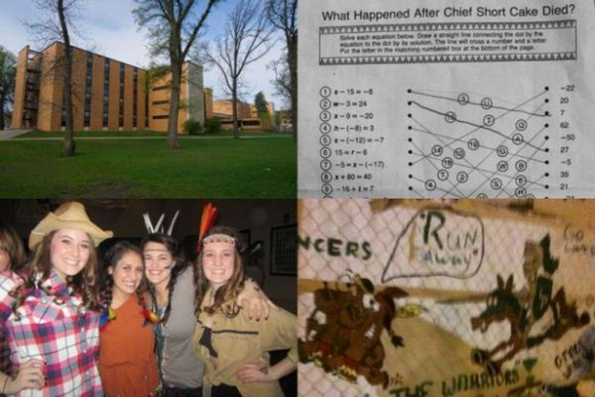 Brown Hall at South Dakota State University (top left), the Chief Short Cake math assignment handed out by a Lakeland Union High School teacher in Wisconsin (top right), the cowboys and Indians theme party thrown at the University of Denver in March (bottom left) and one of the offensive banners from the homecoming game at Lewiston-Porter High School in Youngstown, New York (bottom right).