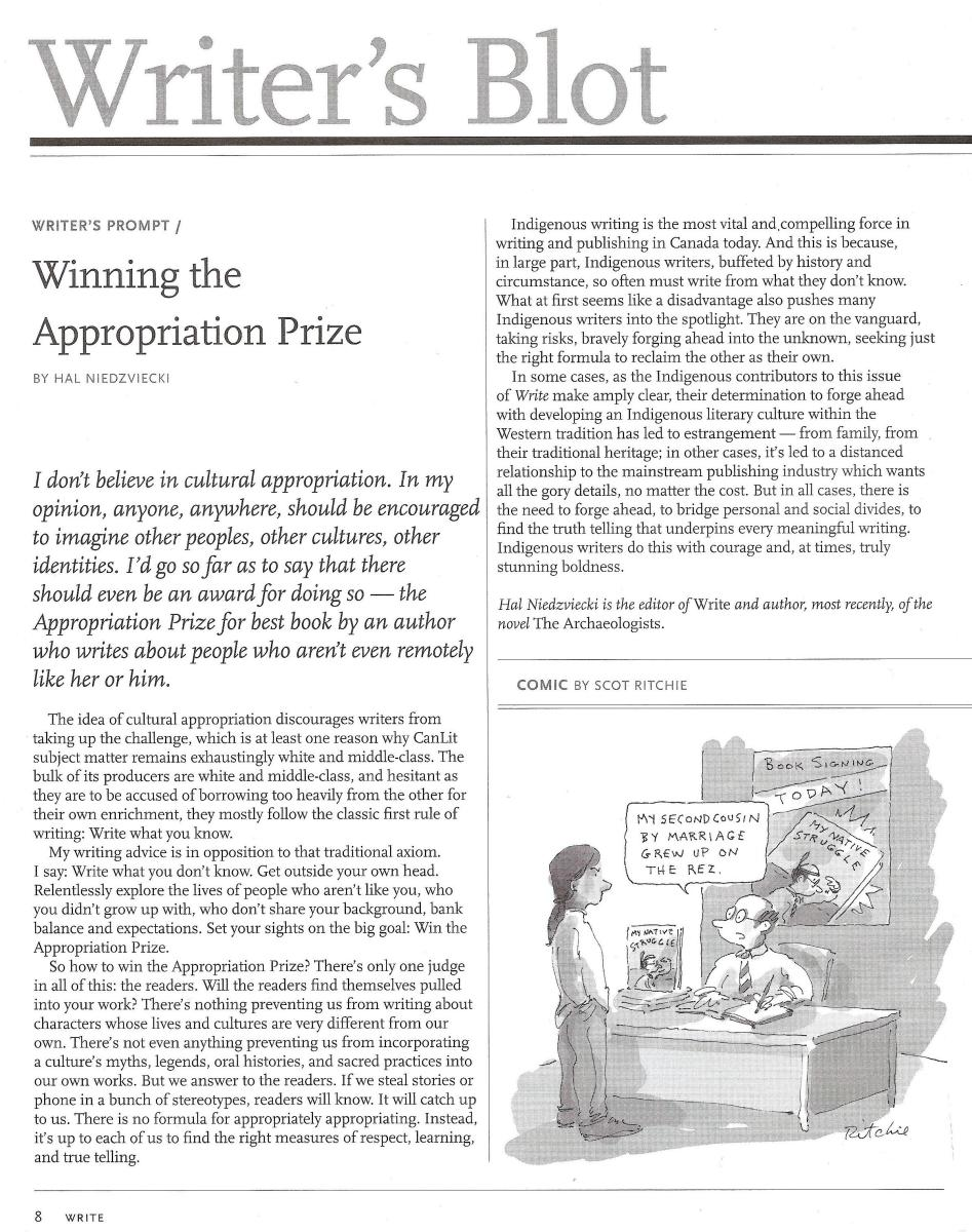 """Write Magazine Hal Niedzviecki's article """"Winning the Appropriation Prize"""" incited outrage on social media. pdf screen capture."""