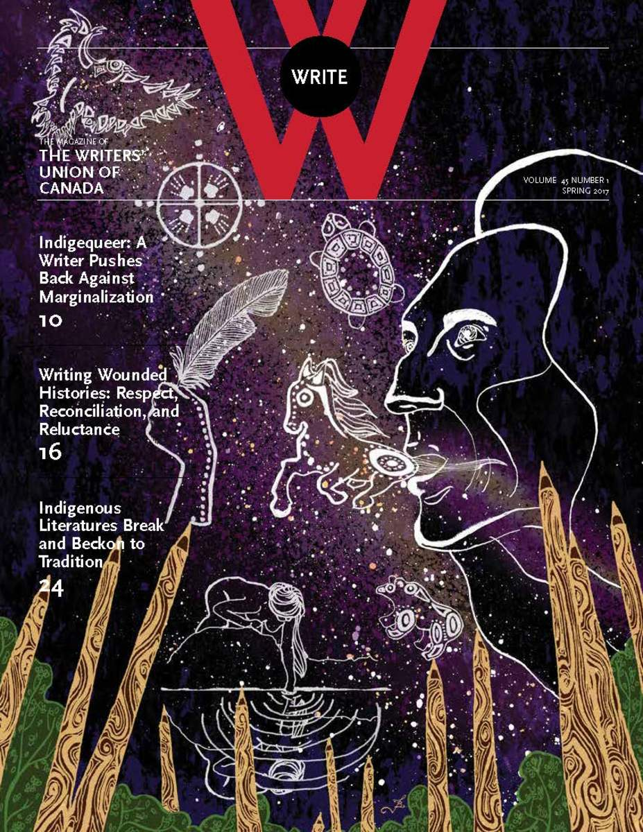 The cover of Write Magazines Spring 2017 issues featured indigenous issues.
