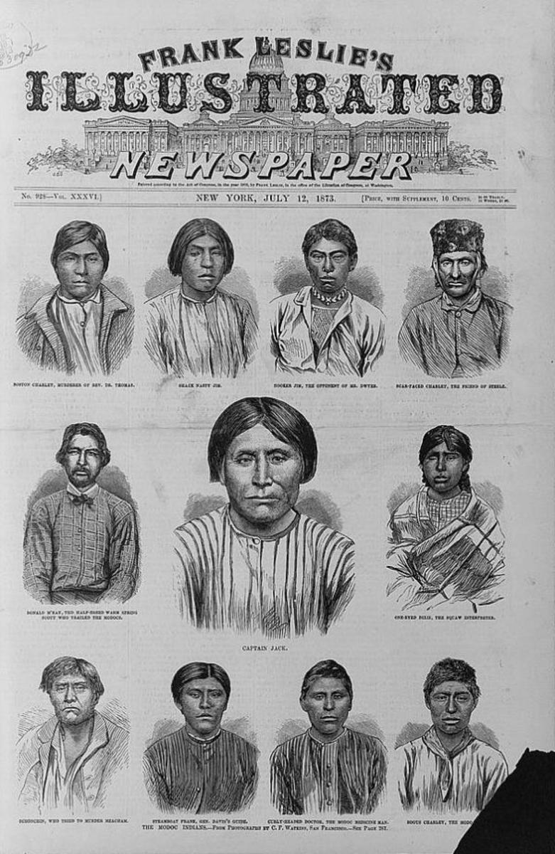 This front page of Frank Leslie's Illustrated Newspaper ran with portraits of 11 Modoc Indians, who ended up as federal prisoners.