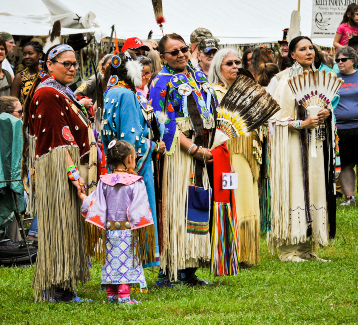 Mothers and grandmothers line up for the judges at the 28th Mother's day Pow Wow in Canton, GA.