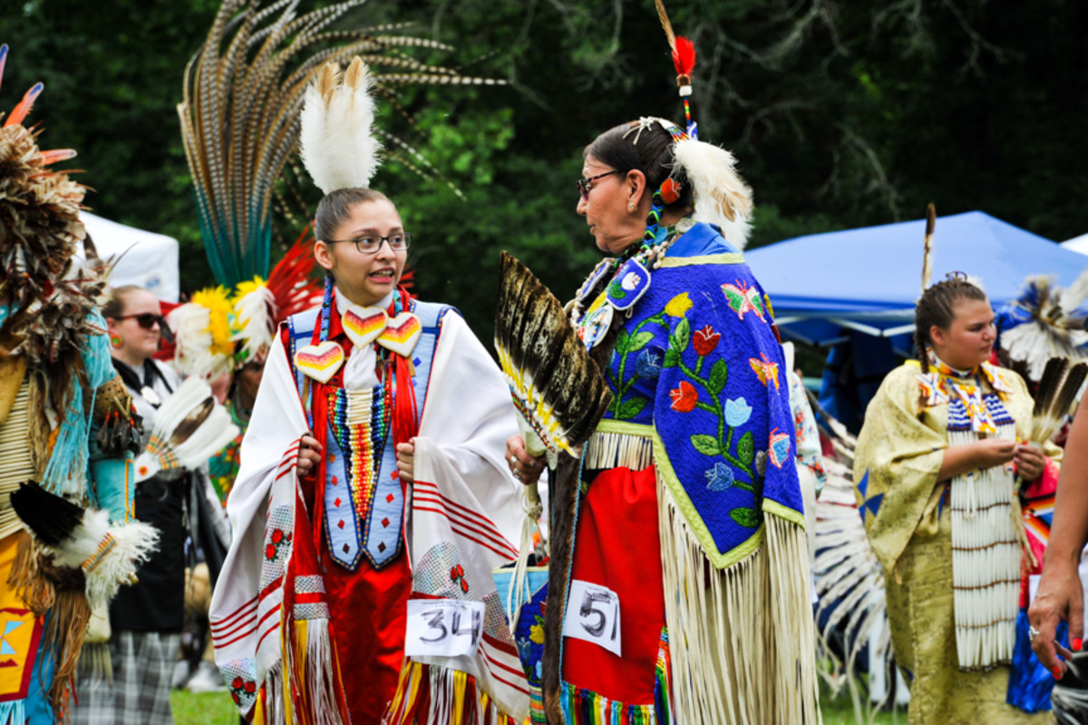 Audra Delgadillo and Sharon Partin at the Mother's Day pow wow in Canton, GA. Amy Morris