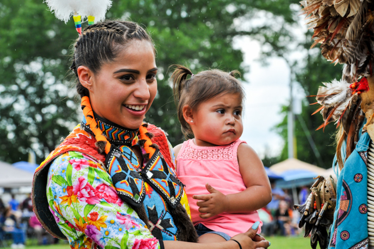 Wahlalah Brown and daughter Winter of the Eastern band of Cherokee at the Mother's Day pow wow in Canton, GA. Amy Morris