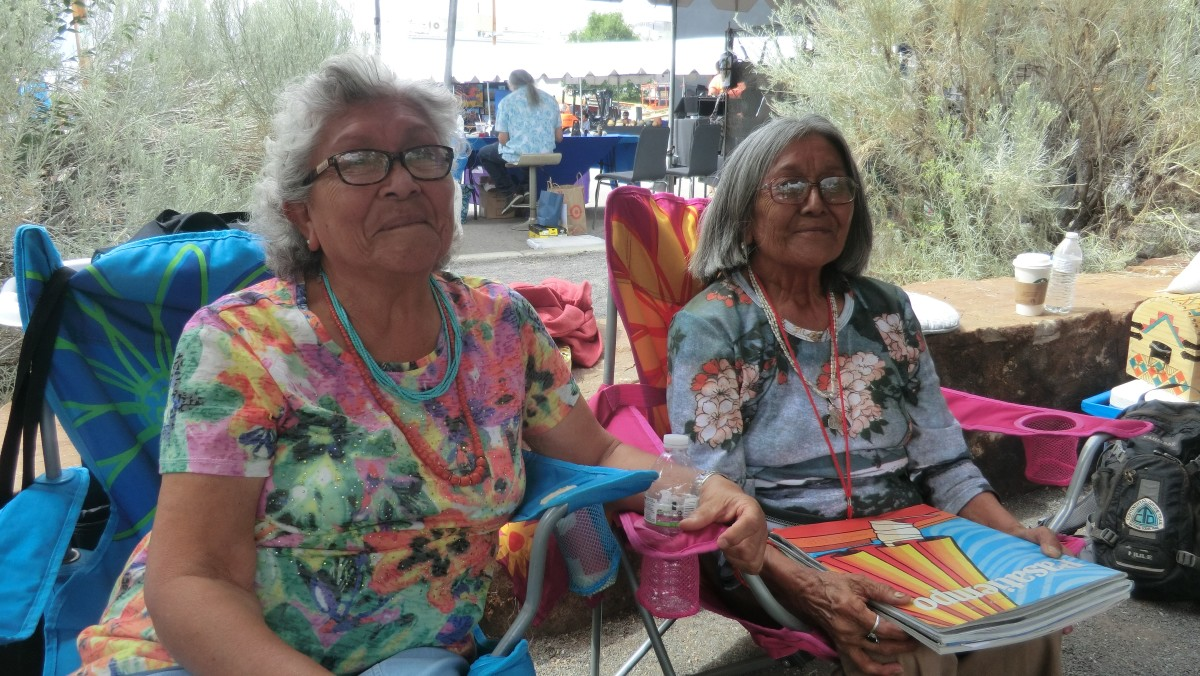 Dolores Lewis, Carmel Lewis Haskaya (and Emma Lewis Mitchell - not pictured) are Acoma Pueblo potters and daughters of clay legend Lucy M. Lewis.