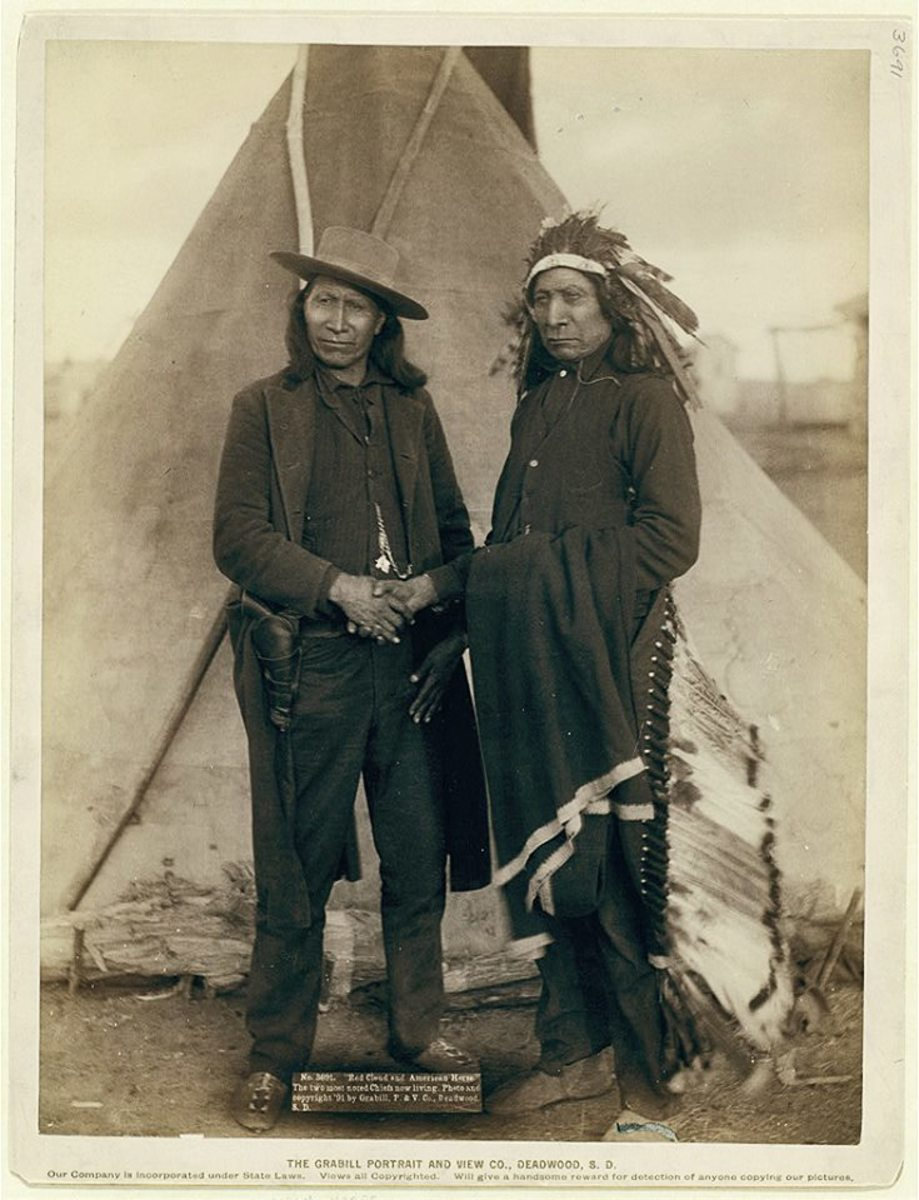 Oglala Chiefs American Horse (left) and Red Cloud (right). Pine Ridge Reservation, S.D. 1891.