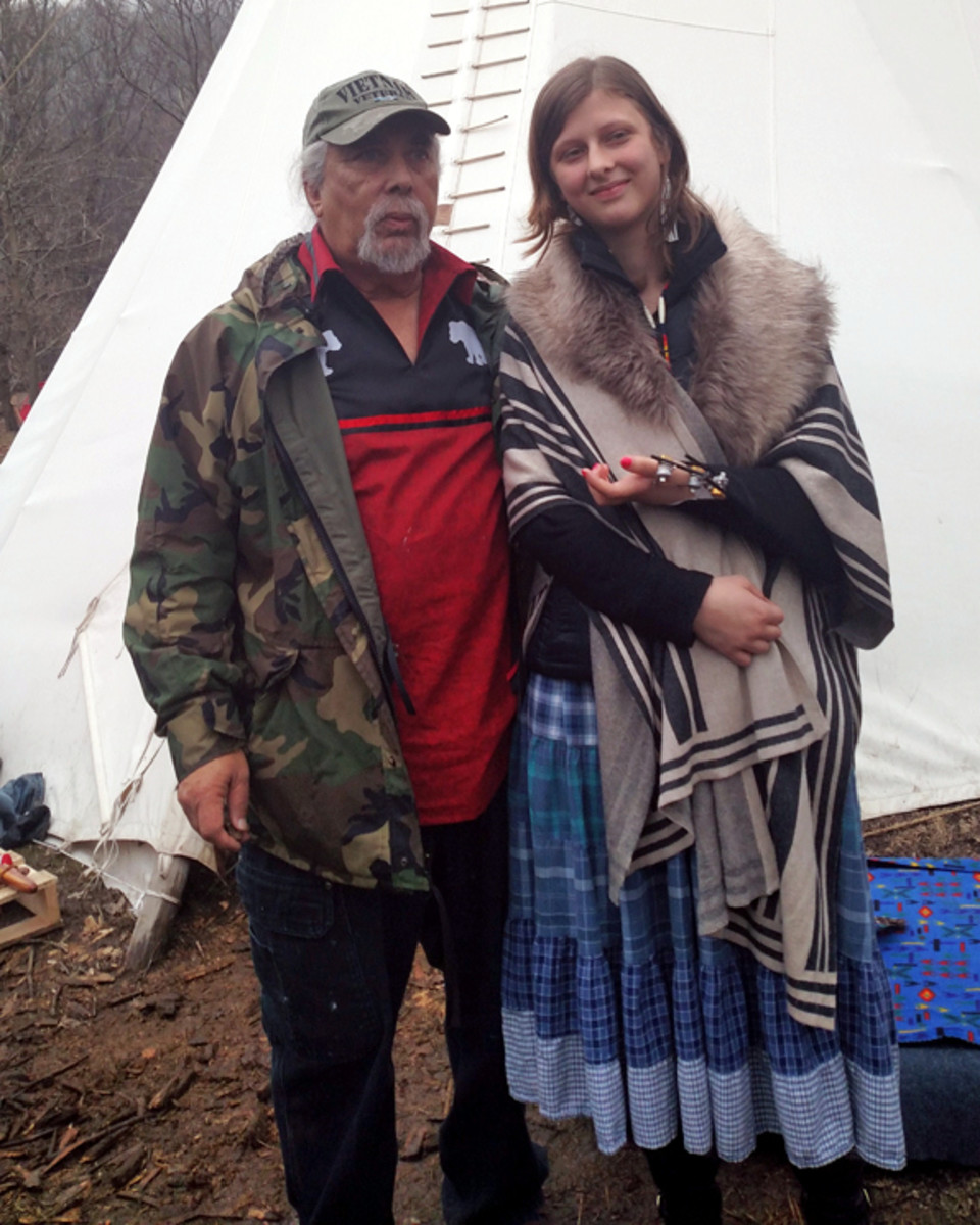 Ramapough Chief Dwaine Perry and Water Protector Sofia Wilansky (Photo by Cliff Matias)