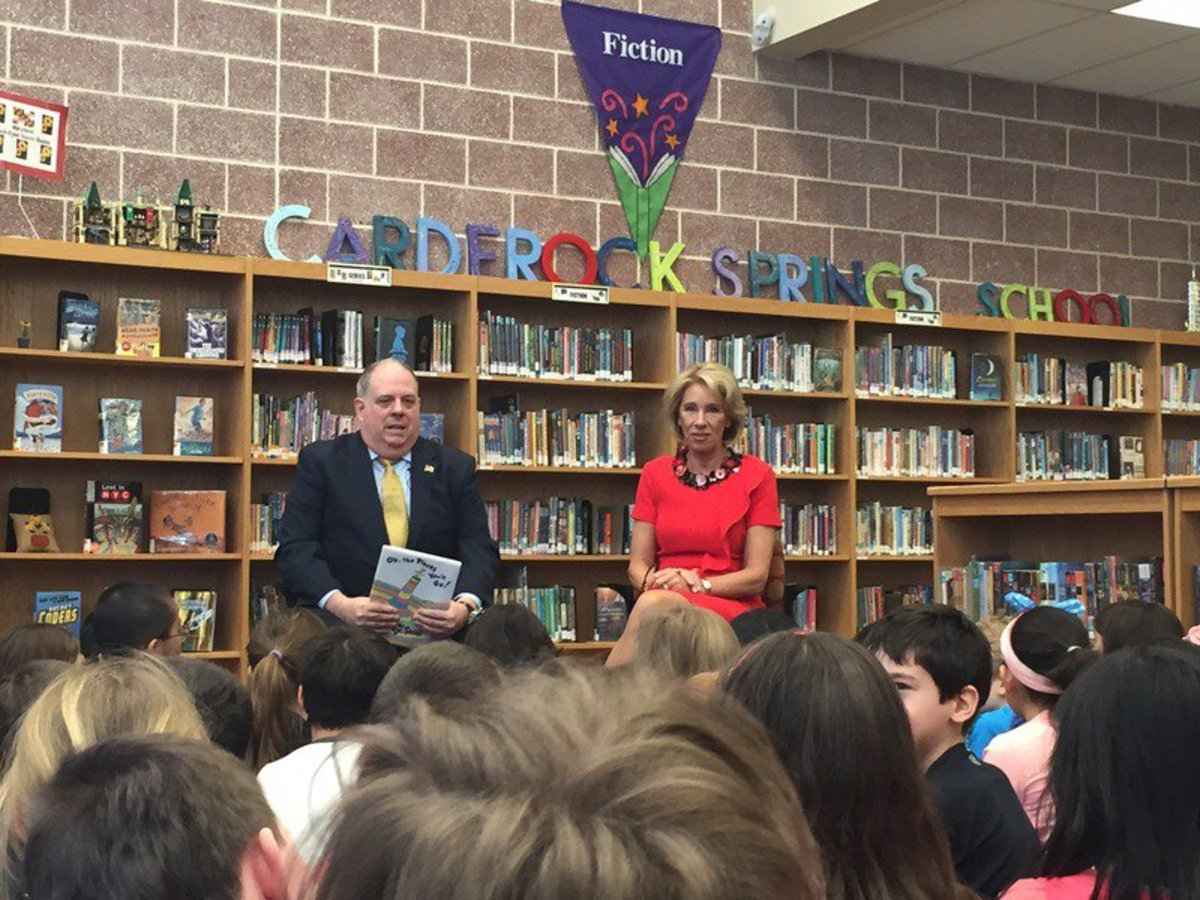 """Secretary of Education Betsy DeVos visited Carderock Elementary School in Bethesda, Maryland and read """"Oh the Places You'll Go"""" with Gov. Larry Hogan. The proposed school choice legislation, H.R. 610 could have serious negative impacts on American Indian students."""