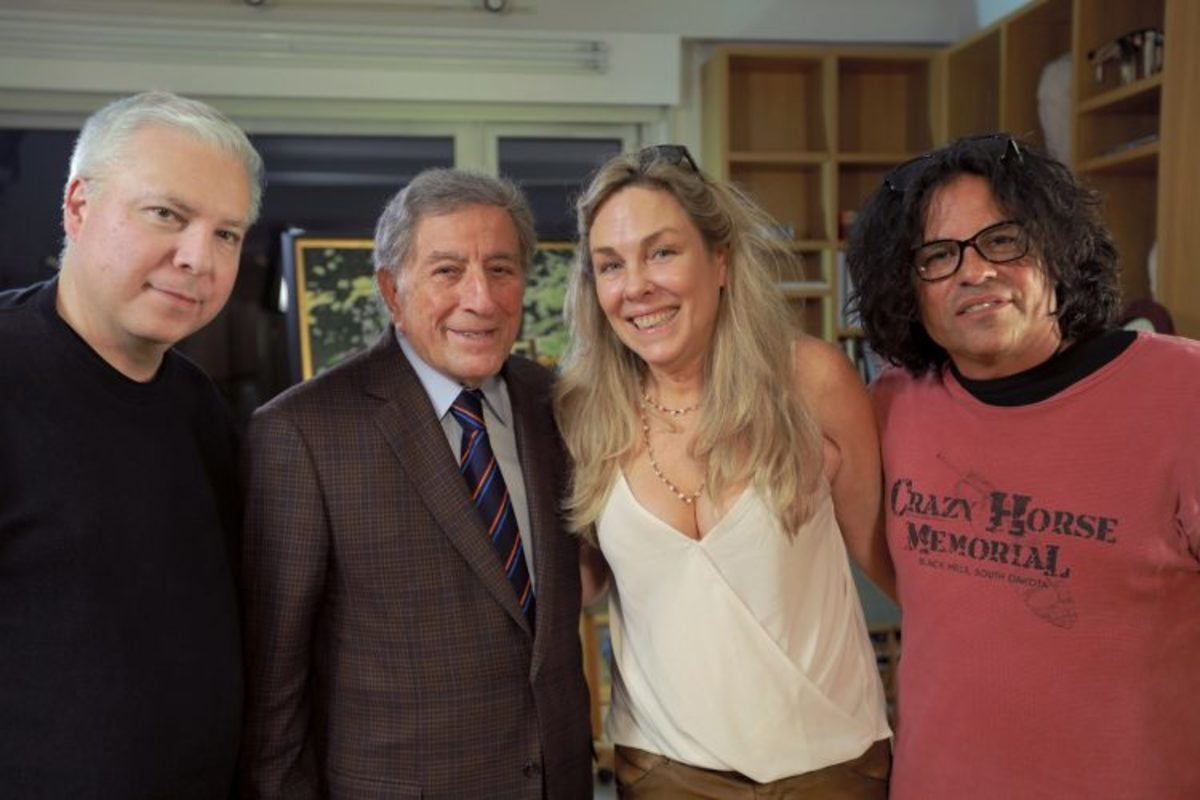 Tim Johnson with Tony Bennett, director Catherine Bainbridge and Stevie Salas for the film, 'Rumble The Indians Who Rocked the World.' Courtesy Tim Johnson