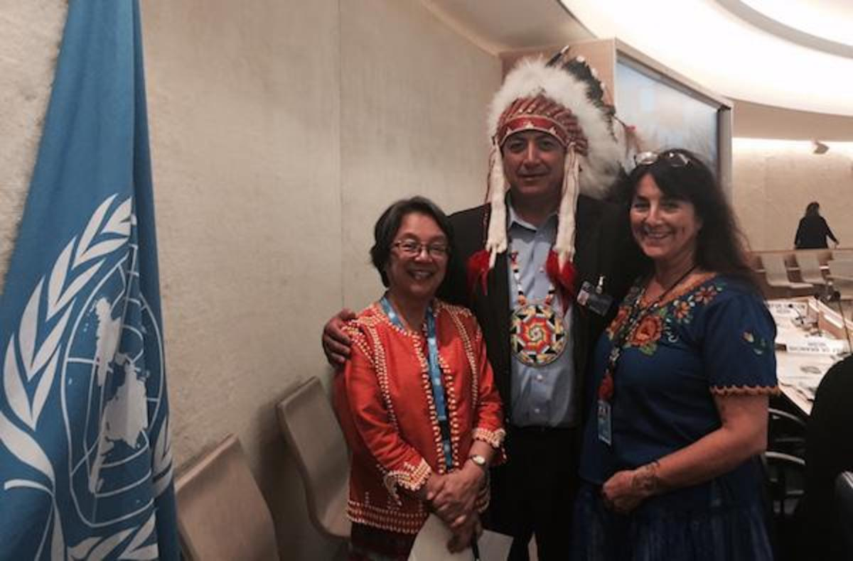 Standing Rock Sioux Tribal Chairman Dave Archambault II, flanked by (left) United Nations Special Rapporteur on the Rights of Indigenous Peoples Victoria Tauli-Corpuz and Andrea Carmen, executive director of the International Indian Treaty Council, at the 33rd Session of the U.N. Human Rights Council in Geneva on September 20, 2016.