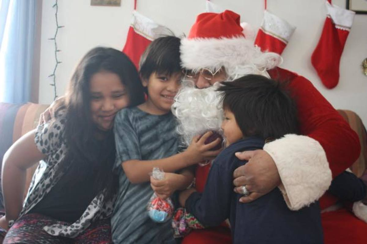 Native children with Santa Claus