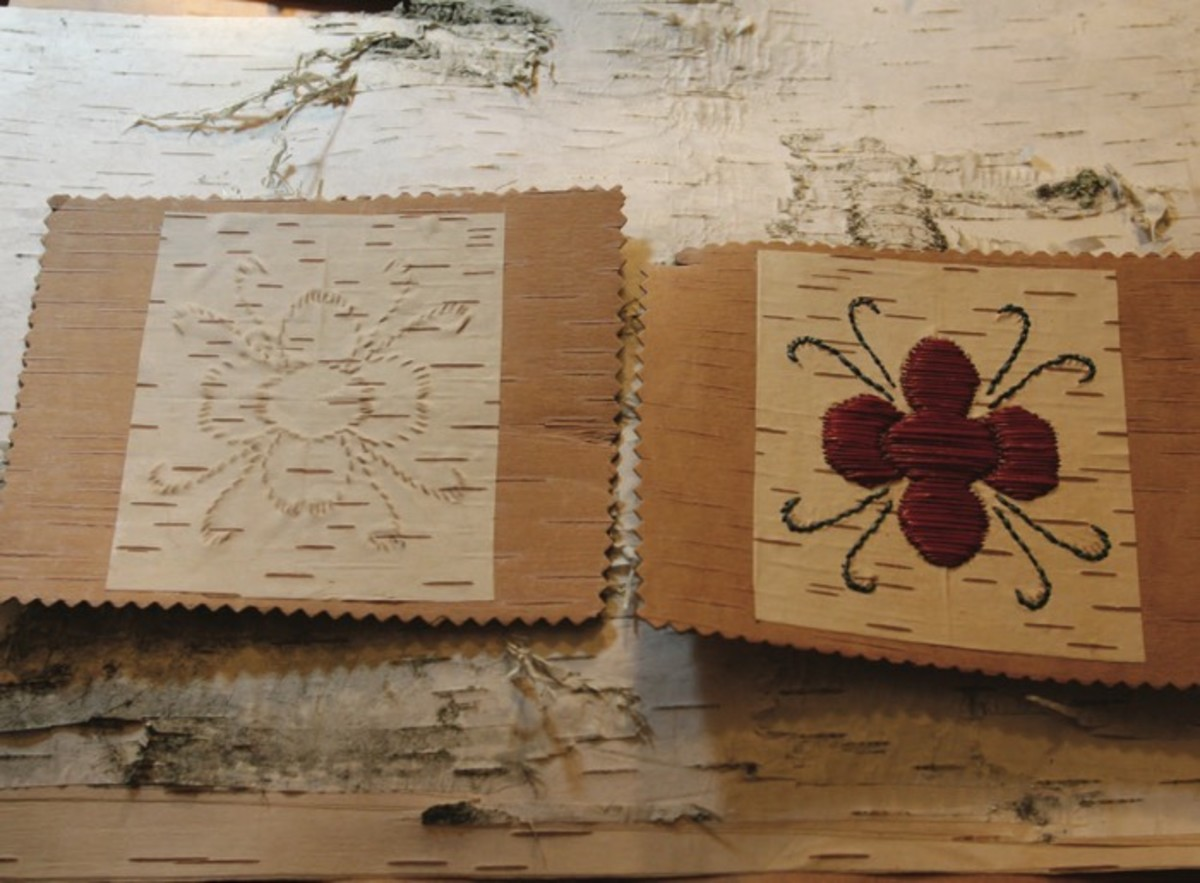 ICMN Issue #2 Master_singlepage_REPAGINATED_Page_63_Image_0002_FEAT_Tree Lives_An example of how birchbark biting was used as a pattern for quillwork_Quill work filling pattern on right_Mary Annette Pember_th