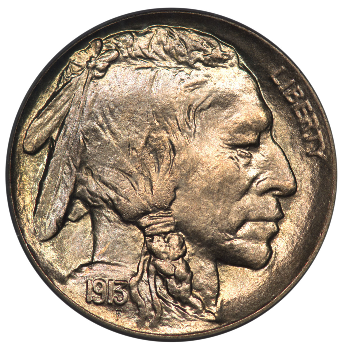 A 1913 F 'Liberty' Indian Head Nickle