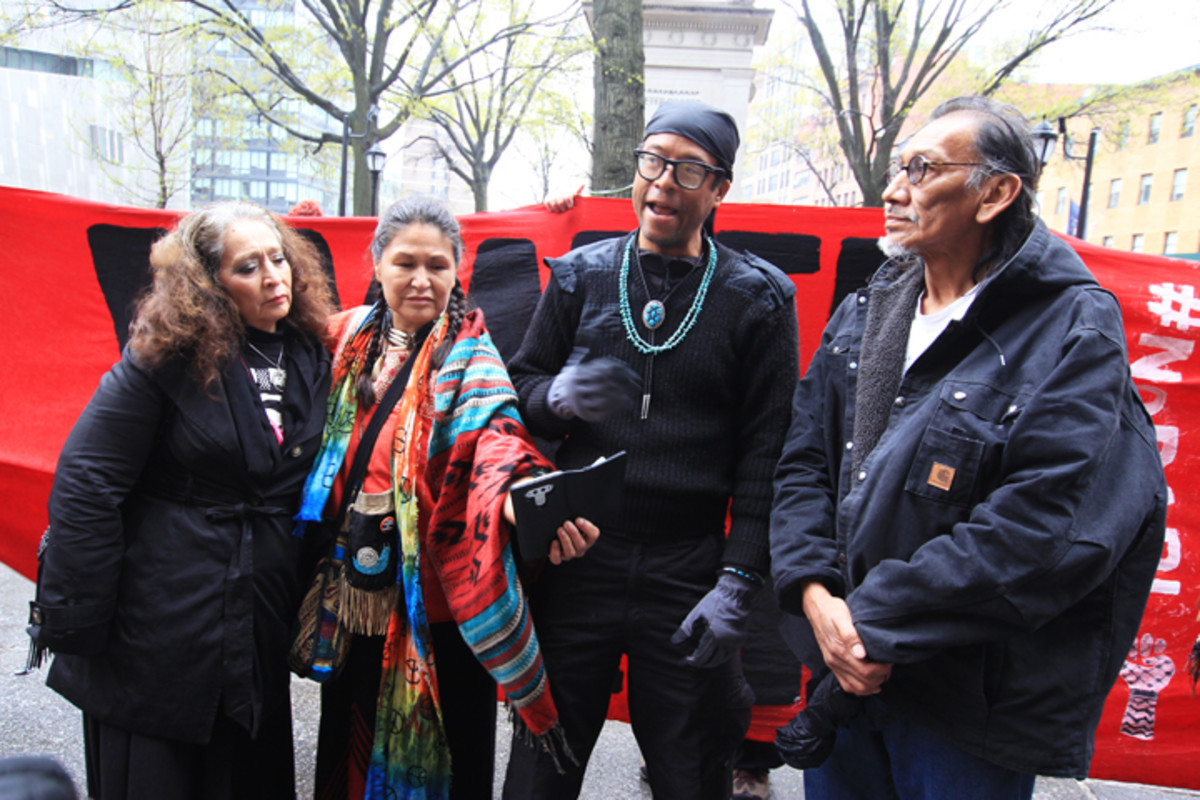 Members of Sacred Stone and the Ramapough Prayer camps gathered at the Citibank action.