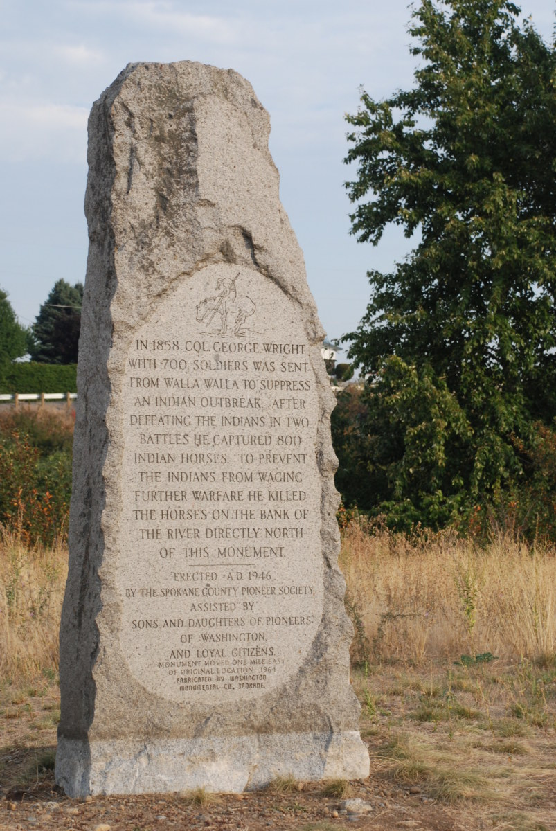Stone memorial to the horses that died in War of 1858.