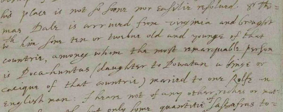 Letter (excerpt) from John Chamberlain to Sir Dudley Carleton, dated 22 June 1616 (catalogue reference: SP 14/87, f.135v). Source: British National Archives, Open Government License