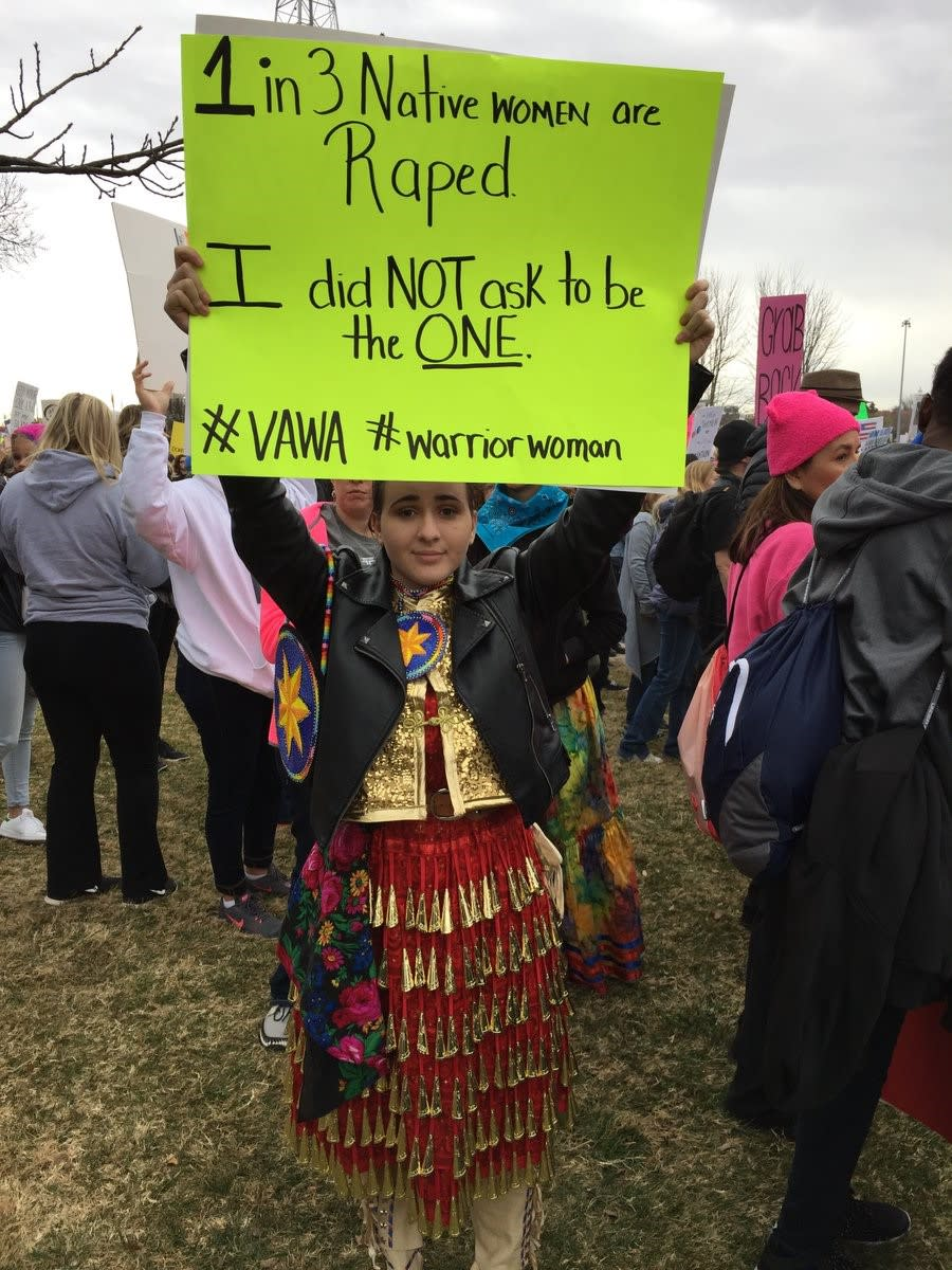 Cierra Fields marching for Native Rape Survivors and the Violence Against Women's Act at the Women's March in Oklahoma. Photo Courtesy Terri Fields