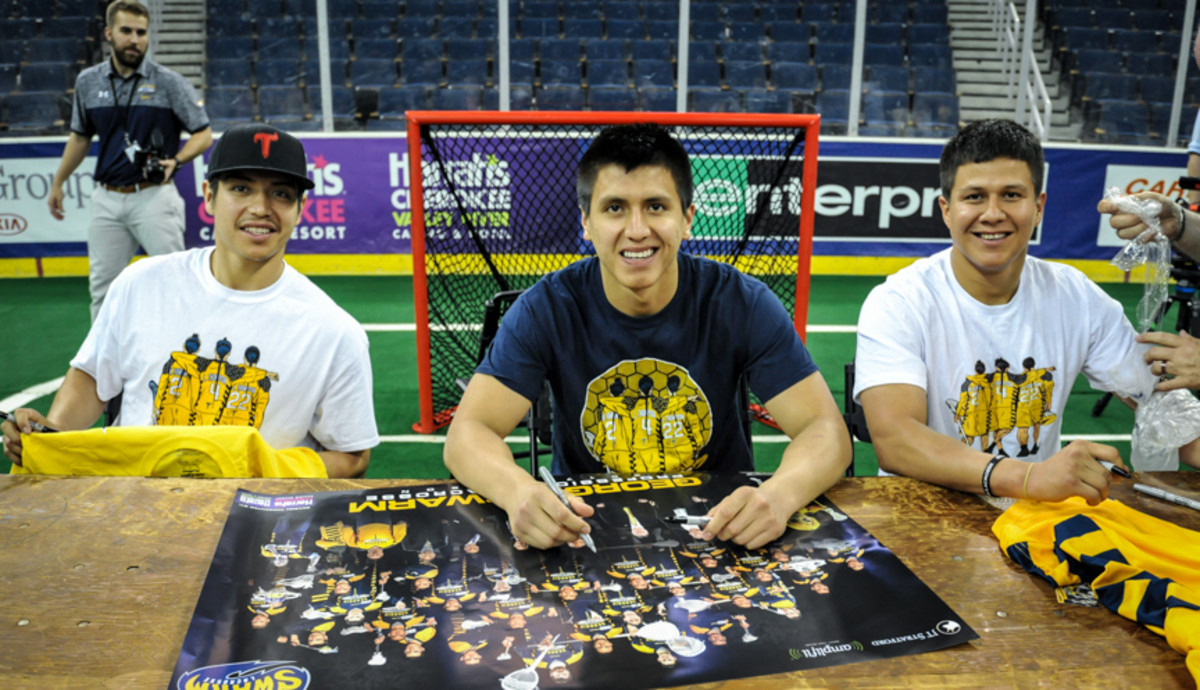 Fan favorites, The Thompson brothers (L-R Miles, Lyle, and Jerome) signing autographs after the last regular season game and April 29, 2017, at Harrah's Cherokee Casino Field at Infinite Energy Arena. Amy Morris