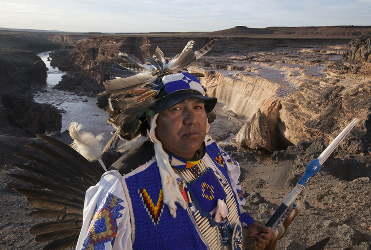 Northern traditional dancer Ferrell Nez in the south side of Grand Falls.Diego James Robles
