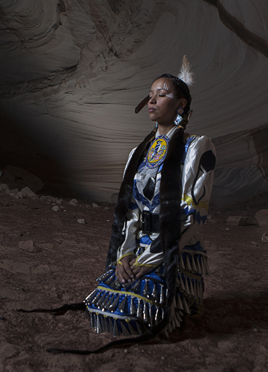 Jingle dress dancer Chanteal Chalay Williams in a Lechee cave.Diego James Robles