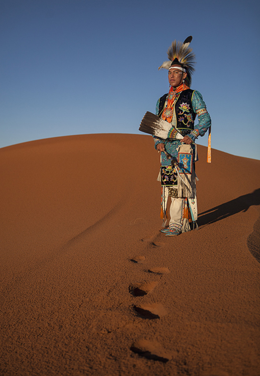 Southern straight dancer Shayne Watson in the Canyon de Chelly National Monument sand dunes.Diego James Robles