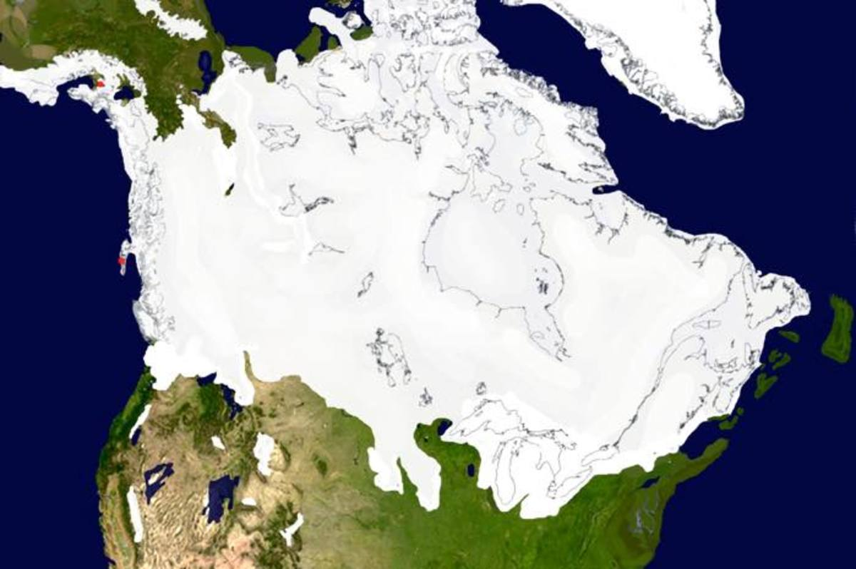 The ice sheet at approximately 17,350 years ago. The sheet has actually expanded, it still extends miles into the oceans and no significant melting has occurred along the coasts.
