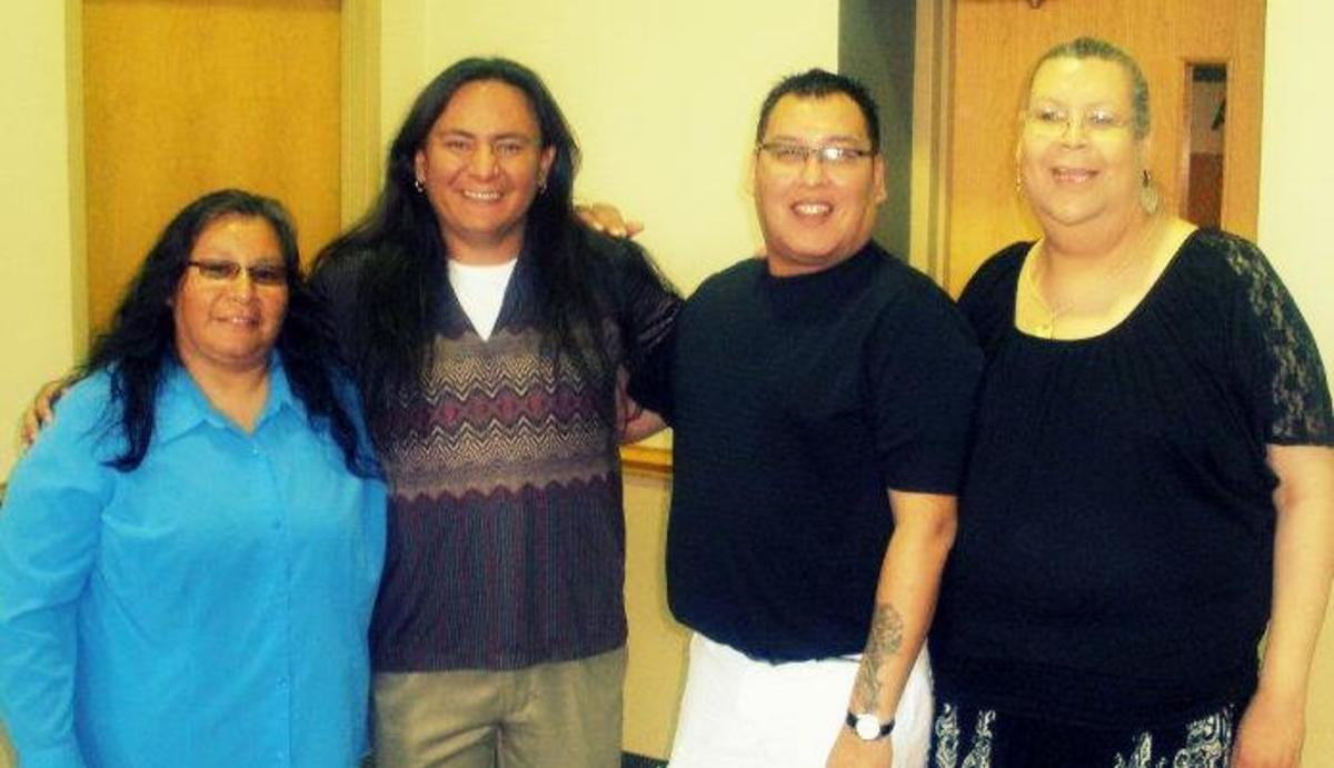 Twin Cities Two-Spirit community leaders (left to right) Janice Bad Moccasin, Nick Metcalf, Lenny Hayes and Reva DNova. Mitchell Hamli.