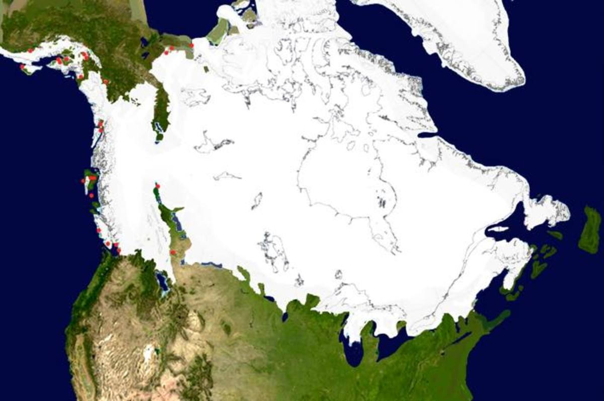 The ice sheet at approximately 15,600 years ago. It is in the process of splitting into two sheets, the Laurentide over most of Canada and the Cordilleran along the west coast.