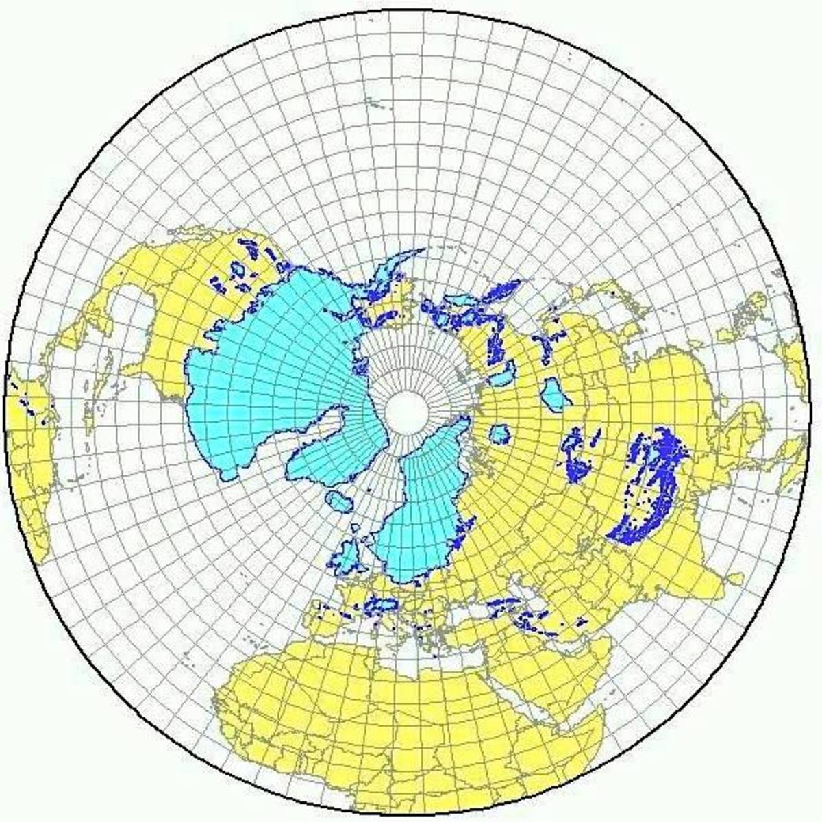A polar view of the ice cap at approximately 19,000 years ago.