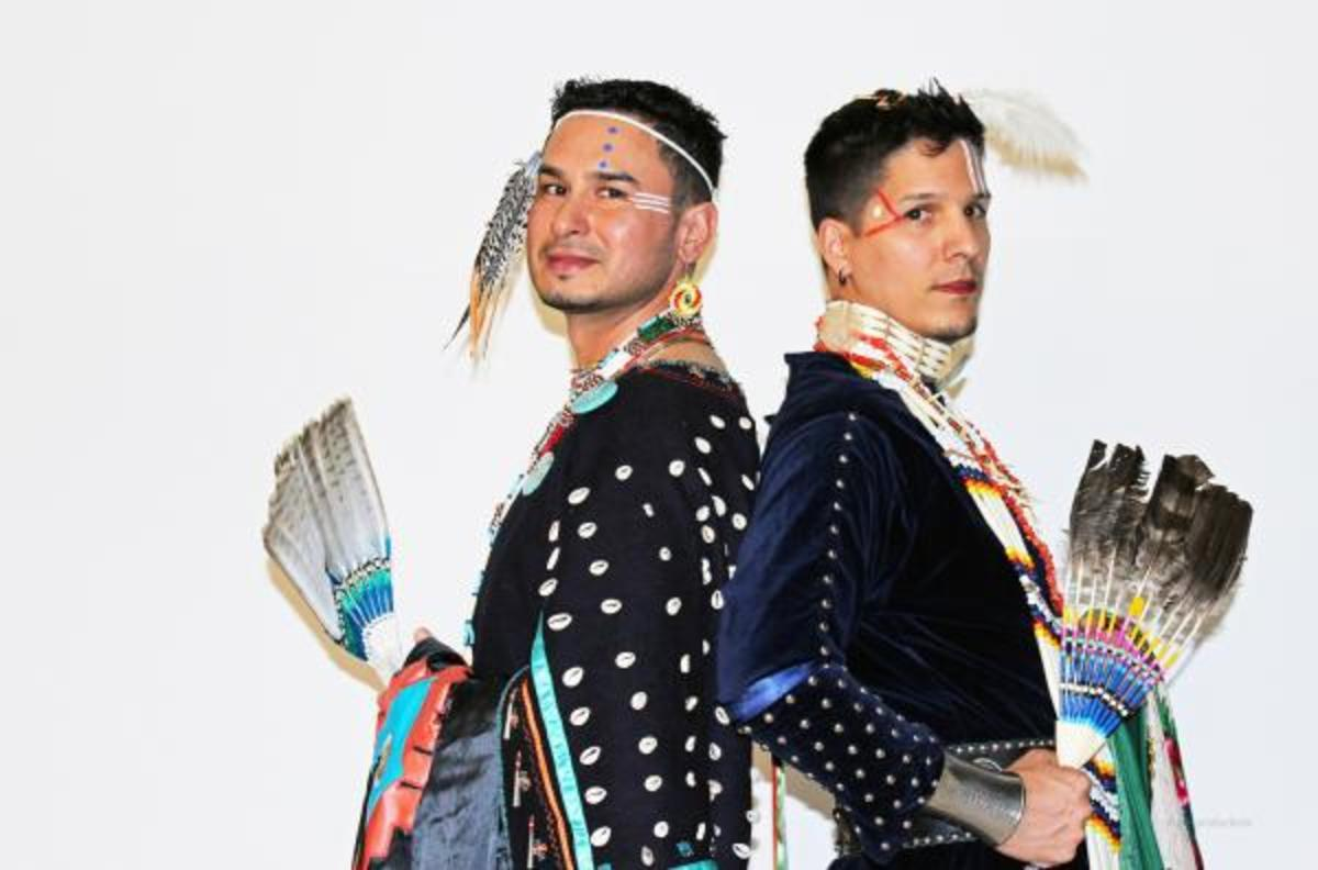 Wanting to capture the essence of a Two Spirit relationship and decolonize homophobic attitudes, Saskatchewan-based producer, filmmaker, and photographer, Marcel Petit (Metis) created a photo essay of Two Spirit couple Warren Ibister (Ahtahkakoop Cree Nation) and Don Bear (Peter Ballantyne of Cree Nation) wearing traditional regalia in women's Cree style.