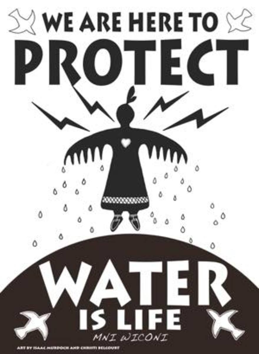 Thunderbird Woman is a recurring motif in the Onaman Collective banners for water protectors.