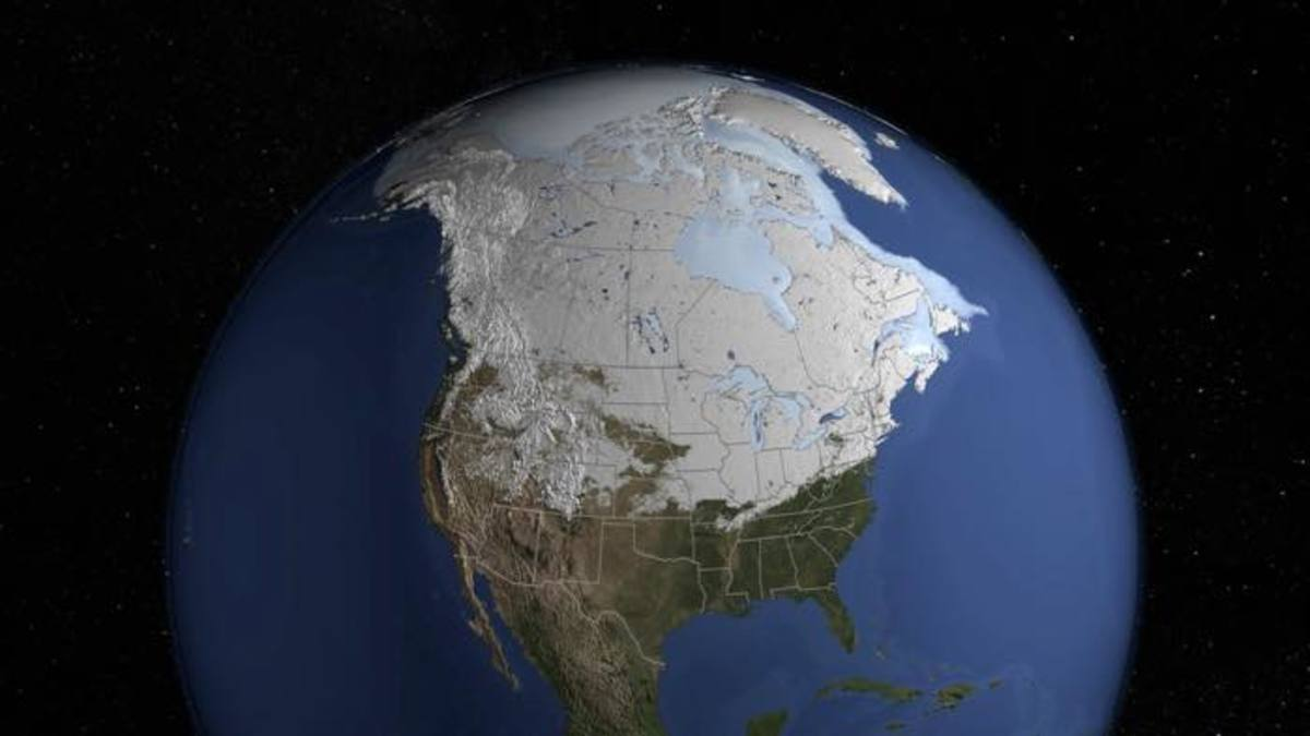 Satellite photo of North America on February 13, 2014. Up until the last century, travel in the upper Northern hemisphere was limited to the short summers. Migrating populations would have to gather and store food to survive the winter, which was likely to be longer and more severe than the winters today.