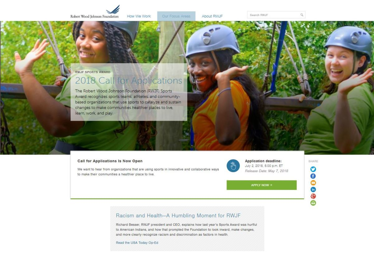 The RWJF Sports Award application page on the Foundation's website expresses 'a humbling moment.'