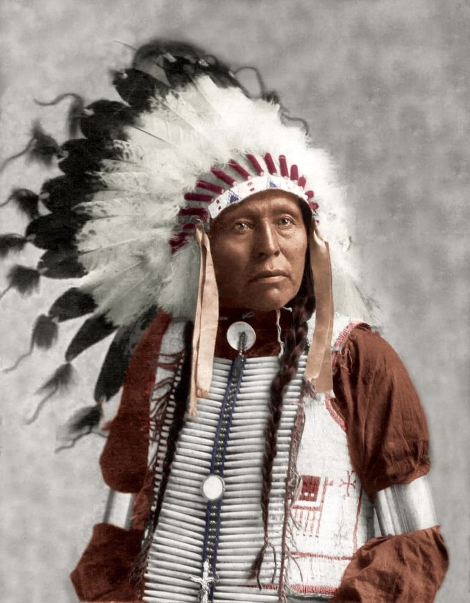 """""""Indian Chief with Headdress,"""" no photographer or date given."""
