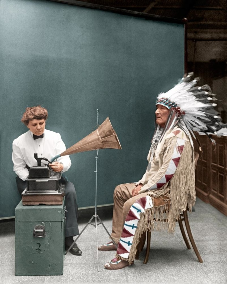Piegan Indian, Mountain Chief, listening to recording with ethnologist Frances Densmore