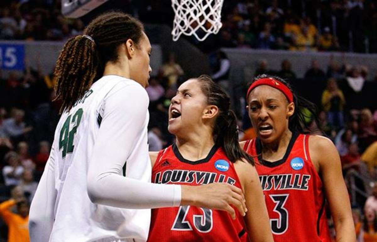 Louisville's Shoni Schimmel (center) reacts after a shot over Baylor's Brittney Griner (left) in the second half Sunday. Schimmel scored 22 points as the Cardinals upset the Bears.