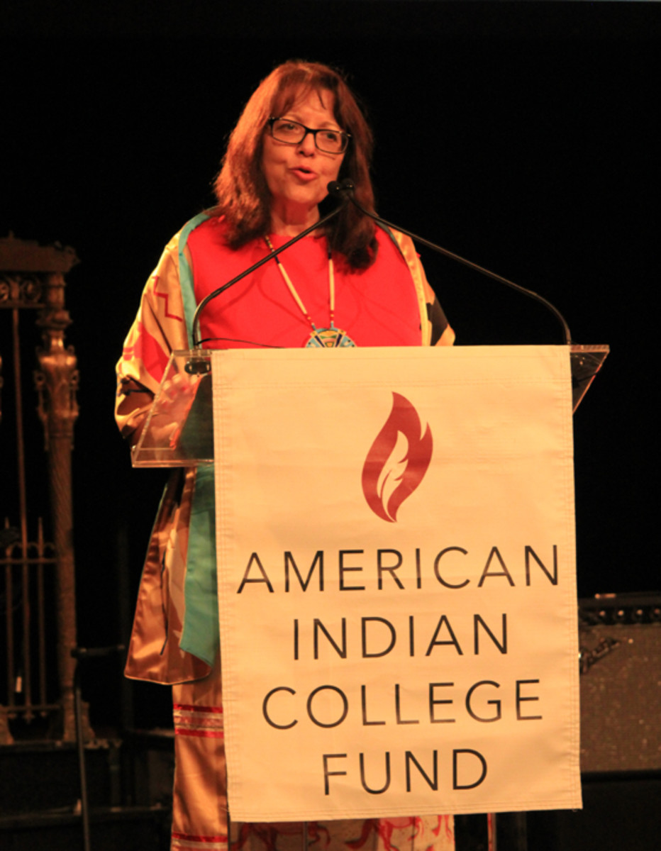 Dr. Cheryl Crazy Bull, Sicangu Lakota, president and CEO of the American Indian College Fund, speaks at the 2017 New York Flame of Hope Gala.