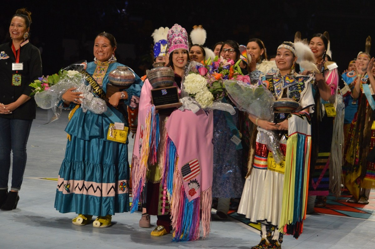 Mykhal Mendoza, Raven Swamp, and Shanley Spence at Miss Indian World Crowning Ceremony. Courtesy Gathering of Nations